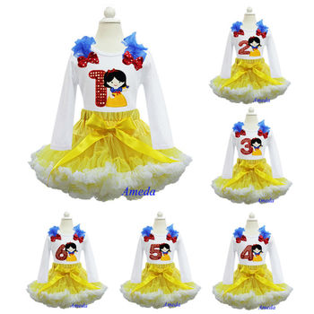 Yellow White Pettiskirt Bling Red Number 1 2 3 4 5 6 Embroidered Snow White Princess Birthday Party Dress