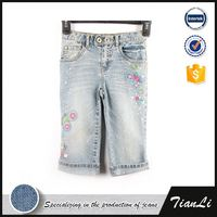Girls Custom Made Jeans Denim Embroidery Shorts