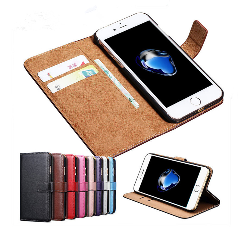Genuine LeatherWallet Purse Card Holder 5.5'' Phone Case For Iphone 7 6 5