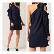 2018 New Fashion Navy Blue Women A-line Woven Dress