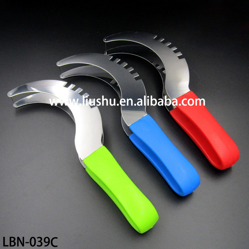 Big size Stainless steel Watermelon slicer/watermelon cutter with color handle