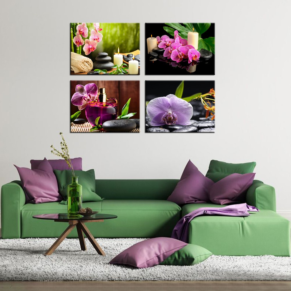 Butterfly Orchid Flowers Canvas Printing/Booming Flower Canvas Paintings/Home Wall Stretched Canvas Prints Decoration 4 Pcs