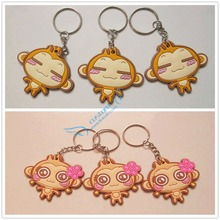 2016 creative promotion keyring rubber cute animal monkey keychain pvc