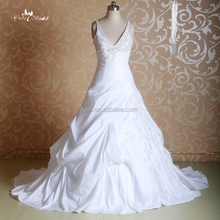 J--0042modest embroidery vintage beading strap ruffle vneck wedding dress