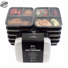 3 Compartment Bento Reusable Food Storage Containers with Lids, Set of 10 Prepare your meals in advance and stack them
