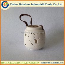 Christmas white deer lantern candle holder with leather tie