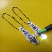 2015 hot sale Spark Plug led keychain , fashion pvc led flashlight keychain wholesale