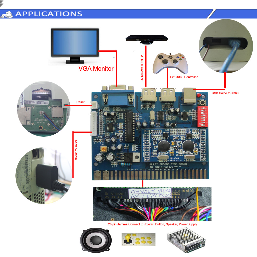 Dual Arcade Game Xbox 360 To Jamma Timer Control Board Buy Xbox360 Circuit Diagram Controller Jammaarcade Gametime Product On Alibabacom