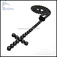 alloy mens micro pave cz rosary black plated with clear cz necklace