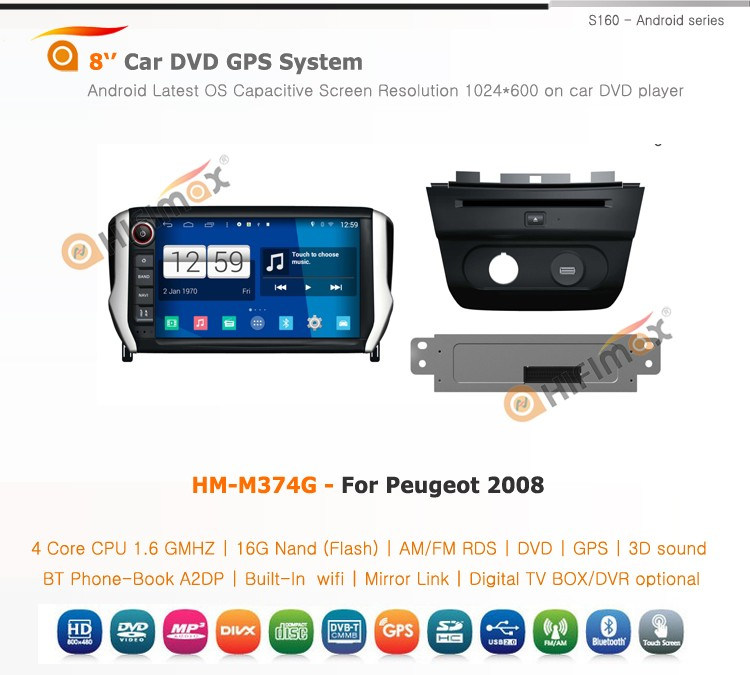 HIFIMAX Android 4.4.4 car dvd player for Peugeot 2008 WITH Capacitive screen 1080P 16G ROM WIFI 3G INTERNET DVR SUPPORT