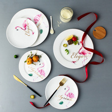 Nice Fine China Ins Ceramic Flamingo Plate Set Creative Western Food Plate Rice Bowl Milk Cup Steak Breakfast Tray Flamingo Dish