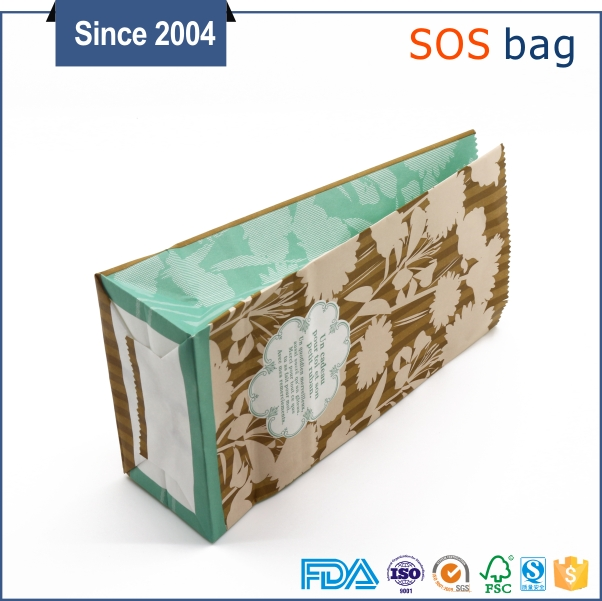 Reclosable Stand up Factory Price colorful Kraft brown paper bag for fried food