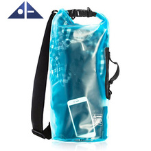 Fashion Waterproof Dry Bag Transparent 10 20 Liter Floating With Shoulder Strap For Boating Camping