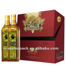 Luxury red papaer custom 2 bottles olive oil packaging box
