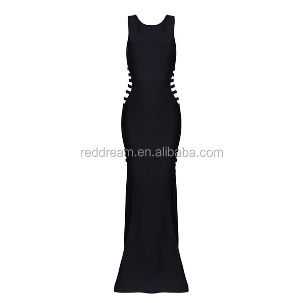 2016 Women Winter Black White Long Dress O Neck Sleeveless Hollow Out Split Chic Sexy Evening Party Bandage Dress Hot Sale