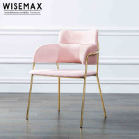 New design wholesale upholstery fabric seat commercial dining room chair with gold stainless steel legs