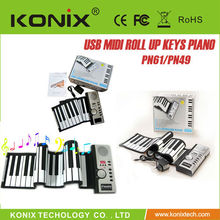 hot style 61 Keys USB silicone flexible usb mini piano keyboard For PC for promotion