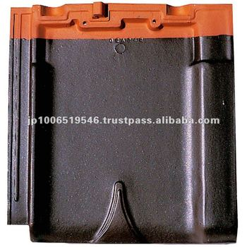 Japanese glazed clay roofing tile Flat type ( CERAM F2 Brown color ) / roof tiles manufacturers
