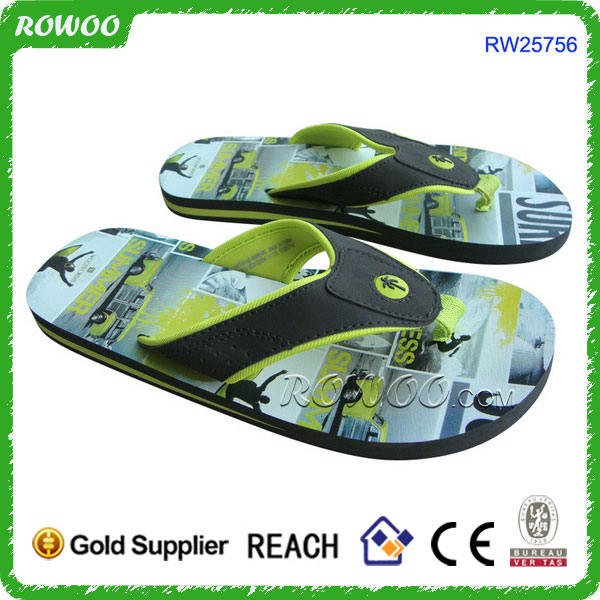 Synthetic strap easy on easy off design men sports flip flops