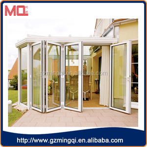high quality white aluminum soundproof and waterproof decorative glass bifold doors