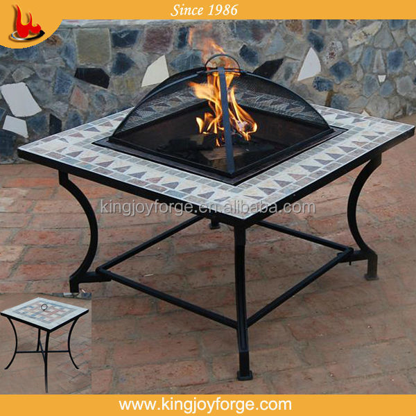 "Kingjoy- 2015 hot sell 30"" square slate table fire pit/firepit table/barbeque table"