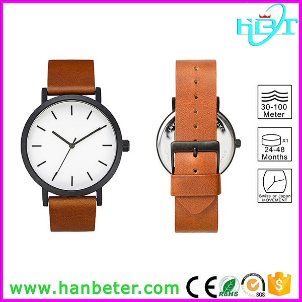 Shenzhen Hanbeter make custom high quality 316l stainless steel japan quartz watch with genuine leather strap