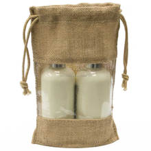 Promotional drawstring jute wine bottle bags with clear window