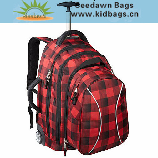 Quanzhou Bag Manufacturer OEM Big Capacity Trolley Travel Backpack with Hiddable Backing Sling for Men