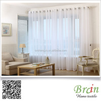 100% polyester wide width white voile fabric ready made sheer curtain