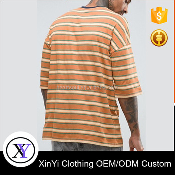Mixed Size Cheap custom Men's Short Sleeve Striped tshirt
