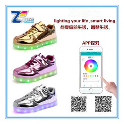 JLS1698 New APP controlled led shoes women pu slippers ladies high heels 2014