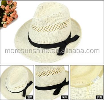 Fashion new design handmade men's paper straw fedora hat