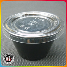 Disposable Souffle Plastic Cup With Black Base And Clear Lid