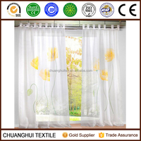 Tab Top Window Curtain Floral Sheer Panel Voile Printed Drape Curtains