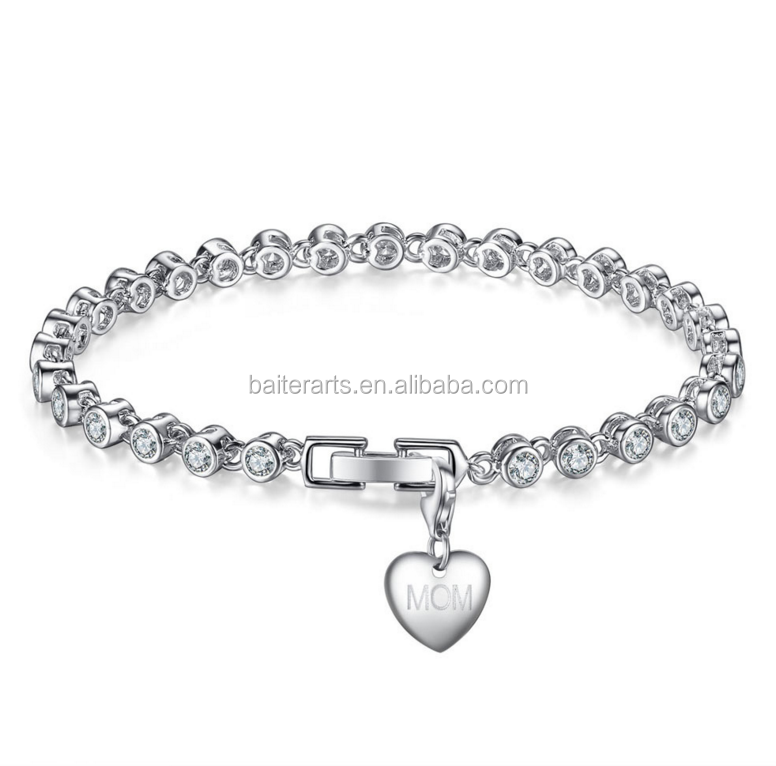 Engraved Custom Silver Plated Round Cut Clear Cubic Zirconia CZ Bridal Tennis Bracelet With Heart Tag