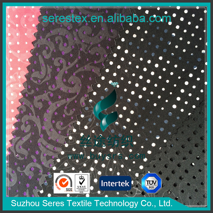 fashion waterproof embossing and punching full dull pongee fashion lady garment fabric bonded with pongee,garment fabric