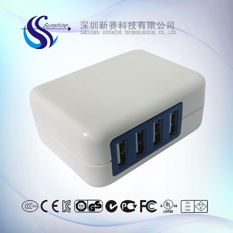 Quick Charge QC 2.0 Fast Charge 4 Port USB Wall Charger Travel Adapter