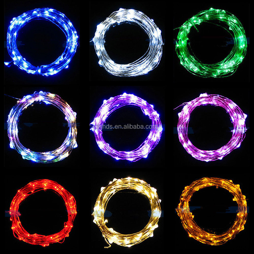 2m/3m/4m Micro LED Battery Operated String Lights Silver Copper Wire Xmas Decor