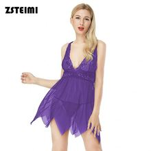 Professional Cheap Purple Deep V Neck Backless Xl Size Hot Fat Woman Babydoll