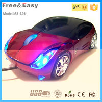 LED 3D car optical mouse wired