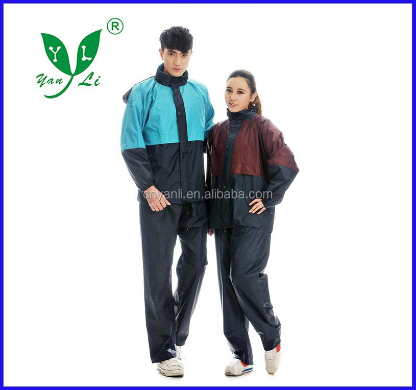 100% polyester Men's/WOMEN'S Raincoat as jacket and trousers