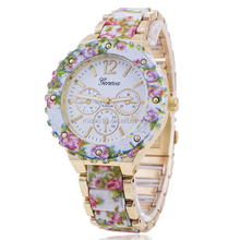 Quartz watch 2015 October new style alloy geneva watch fashion brand quartz watch