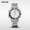 Luxury sport watch promotion Weide WH843 stainless steel dual time analog digit quartz Tachymeter bezel water resistant