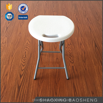 outdoor adjustable white plastic folding stool (blow mould, HDPE, outdoor,banquet,camping)