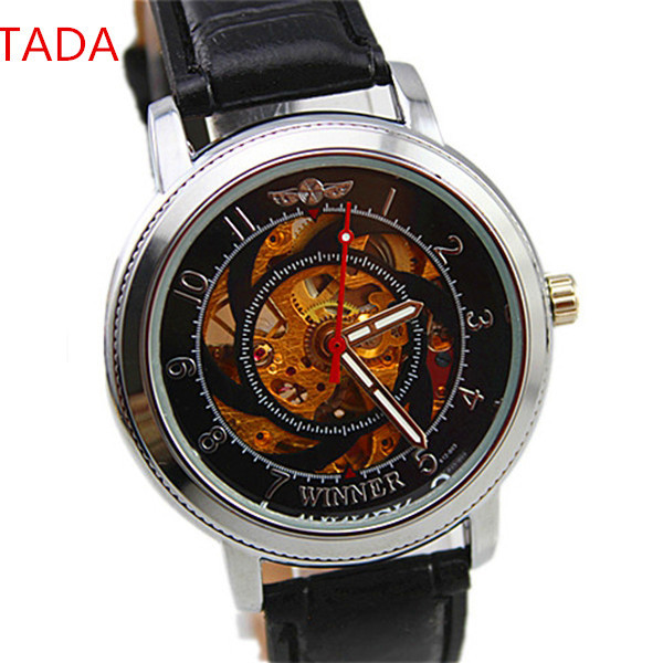 winner brand custom your logo transparent skeleton design men genuine leather band hand automatic watch man