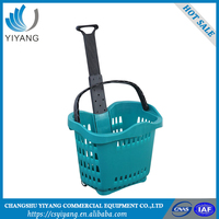 Better rolling shopping basket plastic shopping basket with wheels
