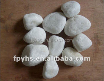 pure white polished oval cobblestone