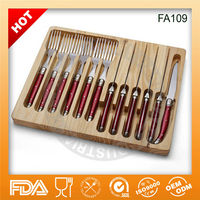 Hot sell 12pcs Stainless steel with plastic handle fork and knife cutlery flatware FA109 in wooden box