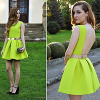 MS70098L American hot style sexy women backless fluorescence green strap lovely dress
