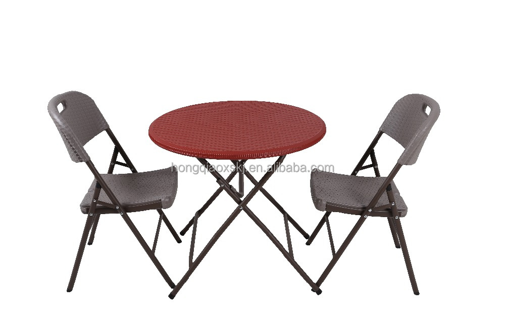 rattan Plastic Outdoor Round Table Lightweight folding cafe table